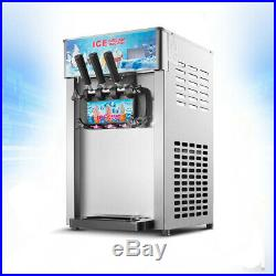 110V 18L/H 3 Flavor Commercial Frozen Cones Soft Ice Cream Making Machine IN US