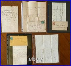 1850's 1890's US Postal History Lot Covers & Stationery with Original Letters