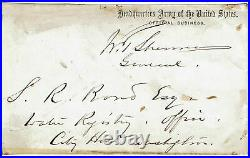 1860's General W. T. SHERMAN signature on official business cover FRONT