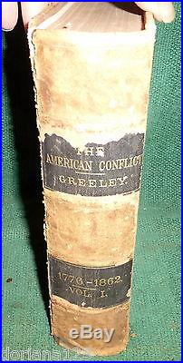 1864 History American Conflict Civil War Slavery Horace Greeley Leather Book