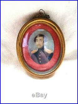 1866 Antique American Miniature Portrait Oil Painting Us. CIVIL War Army Officer