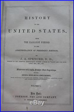 1867 History of the UNITED STATES American Revolution CIVIL WAR Indian Wars VG