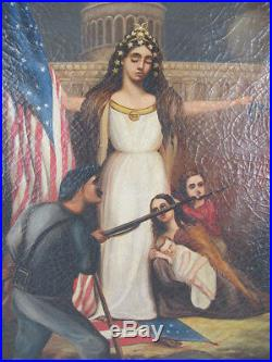 19th Century Antique American Civil War LADY LIBERTY Oil on Canvas ORIG