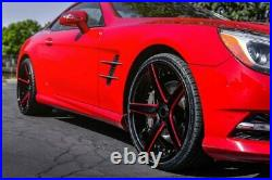 20 AC WHEELS AC02 GLOSS BLACK WITH RED MILLED EXTREME CONCAVE RIMS set (B194)