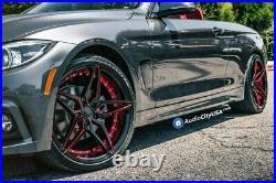 20 Staggered Ac Wheels Ac01 Gloss Black Red Inner Extreme Concave Rims (b28)