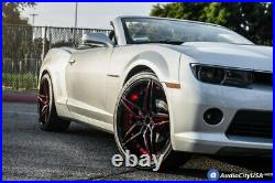 20 Staggered Ac Wheels Ac01 Gloss Black Red Inner Rims And Tires Pkg With Tpms