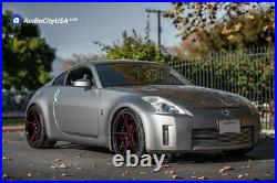 20 Staggered Ac Wheels Ac02 Gloss Black W Red Milled Extreme Concave Rims (b22)