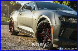 20 Staggered Ac Wheels Ac02 Gloss Black W Red Milled Extreme Concave Rims (s21)