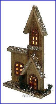 30cm Tall Wooden House WIth 10 Led Lights Glittered Christmas Ornament