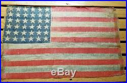 36 Star American flag parade starched cotton Civil war 11 x 17