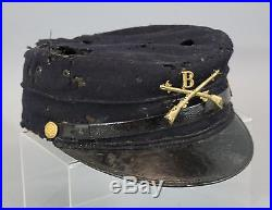 4 Antique Authentic 19thC American Military Kepi Hats & Buttons, NR