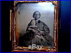 6th P. Rare NEGRO AFRICAN AMERICAN AMBROTYPE NANNY WithCHILD, TINTED, CIVIL WAR ERA