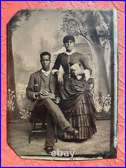 African American Tintype 1/6 Plate Young Black Couple Woman Dress Man Hat 1800's