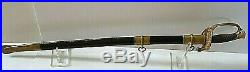 American CIVIL War Ames M 1850 Foot Officer Sword Signed Ames Leather Scabbard