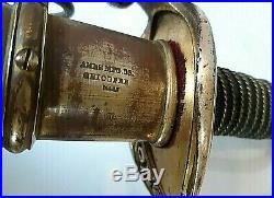 American CIVIL War Ames M 1850 Foot Officer Sword Signed Ames Partial Scabbard