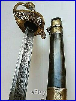 American CIVIL War Ames M 1850 Foot Officer Sword W Signed Ames Metal Scabbard