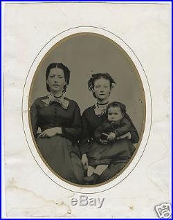 American CIVIL War Era Lost Father Pregnant Mom Freckles Half Plt+ Tintype Photo