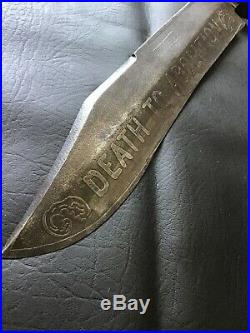 American Civil War Era Large Fighting Bowie Knife DEATH TO ABOLITION SHEFFIELD