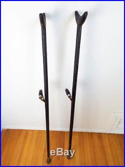 Antique 1800s American Civil War Military Officers Brass Crutches Black Leather