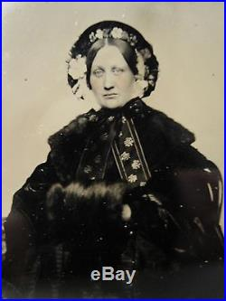 Antique American Beauty CIVIL War Era Mourning Floral Bonnet Old Tintype Photo