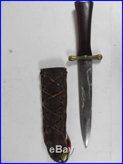 Antique American CIVIL War Confederate Bowie Knife Steel Blade Brass Holster USA