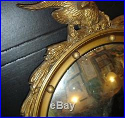 Antique American Federal Eagle Gold Giltwood Frame with Convex Mirror Civil War