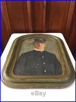 Antique CIVIL WAR Framed Picture SOLDIER Photograph SPANISH AMERICAN Military