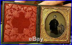 Antique CIVIL War Union Frock Button Kepi Ambrotype 34 Star American Flag Photo