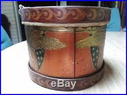 Antique Patriotic American Flag Tin Litho Toy Snare Drum CIVIL War Eagle Nice