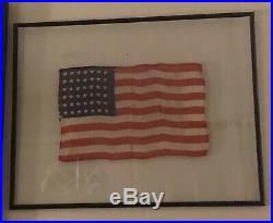 Authentic Antique Framed 42 Star American Flag Post Civil War Indian Wars Rare