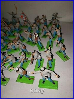 Britains 1971 A. C. W. Confederate Infantry Deetail Toy Soldiers 62 Pieces