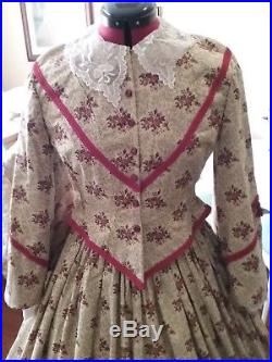Brown with Roses American Civil War Day Dress