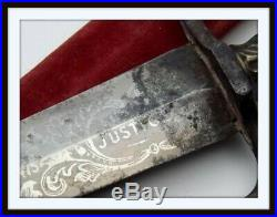 CIVIL WAR ENGLISH ETCHED AMERICAN PRIDE BOWIE KNIFE dirk ANTIQUE RARE