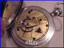 CIVIL War 1865 American Watch Co Wm. Ellery 4 Hinged Coin Silver Hunting Case