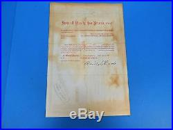 CIVIL War Era American Express Stock. Signed By Wells & Fargo, Dated 1865