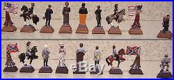 Chess Set Pieces American History Civil War NEW hand painted pewter 2 1/2 kings
