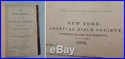Civil War Bible 1863 American Bible Society ABS Old + New Testaments Leather Atq