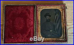 Civil War Tintype Union Soldier with tinted American Flag 1/4 Plate