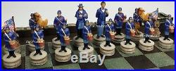 NEW American US Civil War North vs South chess set With 17 CASTLE Board
