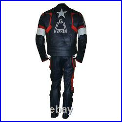 New Captain American Civil War 2015 Red Blue Motorcycle Cowhide Leather 2PC Suit