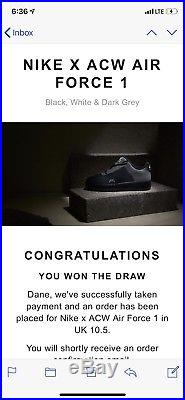 Nike ACW Air Force 1 Low A Cold Wall Black Sz 11.5 IN HAND
