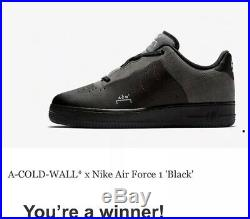 Nike x ACW A COLD WALL Air Force 1 Black (UK 7.5, US 8.5)