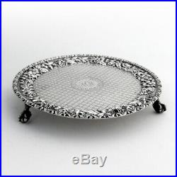 Repousse Footed Teapot Stand Salver Kirk Son Sterling Silver 1870s Mono ACW