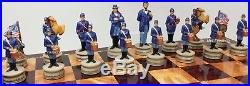 US AMERICAN CIVIL WAR CHESS SET With Cherry & Burlwood Color STORAGE BOARD 17