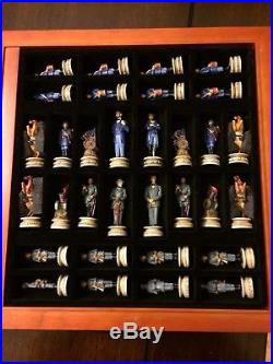 US AMERICAN CIVIL WAR chess set with board