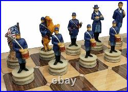 US American Civil War Generals Painted Chess Set With 17 Rustic Color Board
