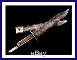 Unusual 19th C. American Civil War Bowie Knife with Folding Blade in the Grip