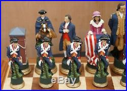 Very Rare Collectors American CIVIL War Of Independence Hand Painted Chess Set