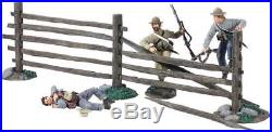 W Britain 31221 ACW Three Confederate Infantry With Turnpike Fence Sections